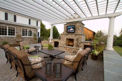 Traditional patio with fireplace