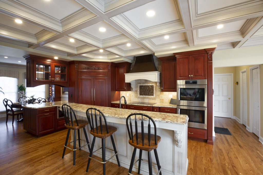 A properly spaced custom kitchen island allows plenty of room to move about in a kitchen.